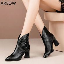 Sexy Women Boots 2020 Autumn and Winter V-Neck High Heels Ankle Shoes