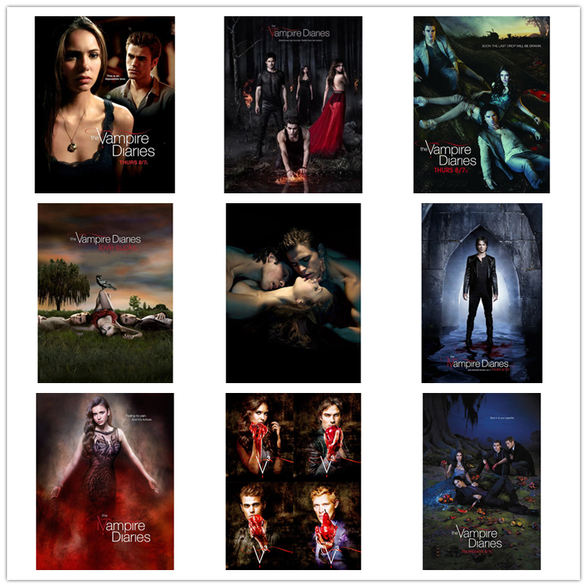 New Arrival 5D DIY Full Square Diamond Mosaic The Vampire Diaries Diamond Embroidery Cross Stitch Home Decoration Gift WG1272