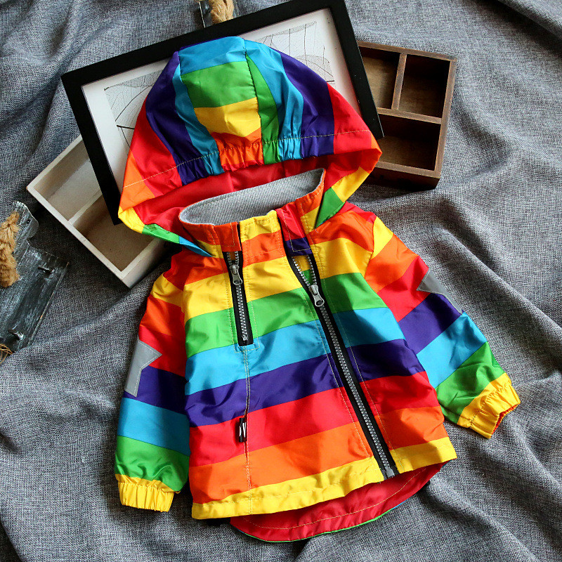 Jacket Rainbow-Coat Hooded Kids Clothes Long-Sleeves Water-Proof Baby-Boys-Girls Stripe