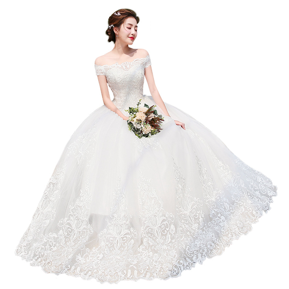 White Bride Dress Lace Embroidery Off Shoulder Wedding Ball Gown Dress