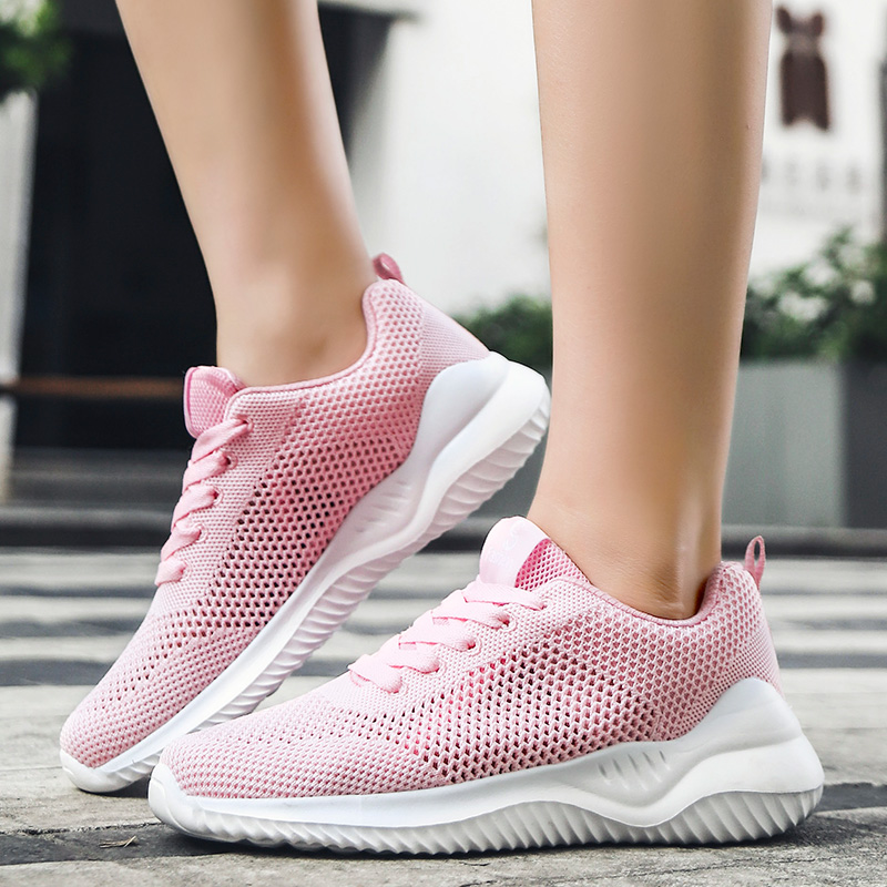 Summer Air Mesh Women Sneakers Pink Breathable Vulcanize Casual Shoes Female Lightweight Ladies Flat Shoes Student Sneakers