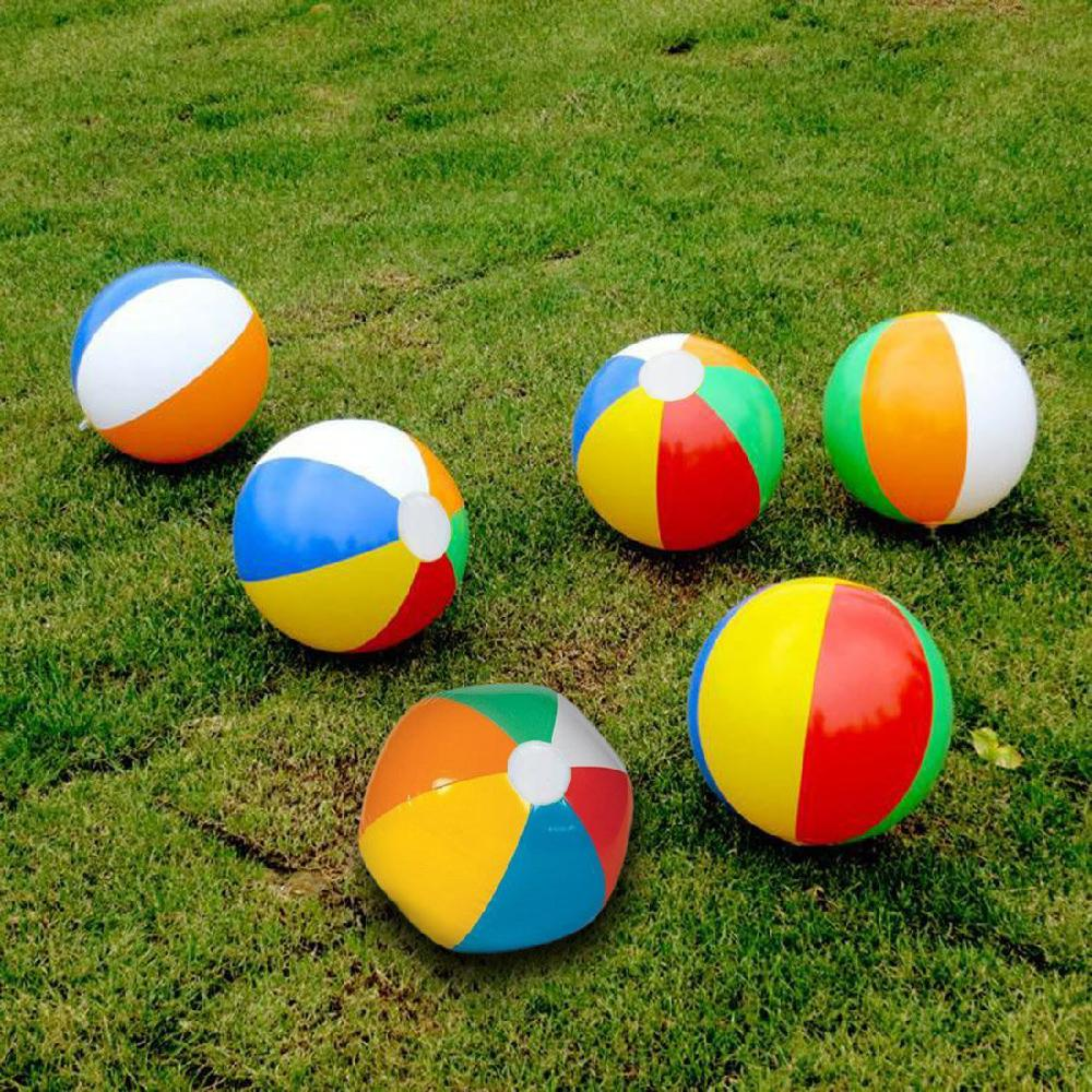 Kuulee 6PCS Rainbow Inflatable Beach Balls Pool Party Balls Water Beach Play Toys Set High Quality Child Interesting Toys