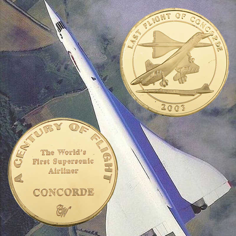 WR Last Flight Of Concorde Commemorative Coin Gold Plated