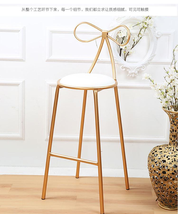 Качественное металлическое кресло, модное, Скандинавское, барное, для отдыха, стул, современный, обеденный, вечерние, с бантом, форма спинки и высокая пена, губка - Цвет: 1