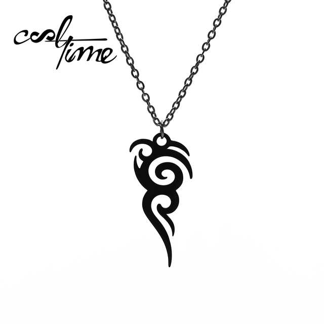 Cooltime Stainless Steel Retro Tribal Totem Easter Long Pendant Necklaces Black Amulet Necklace Jewelry Christmas Gift