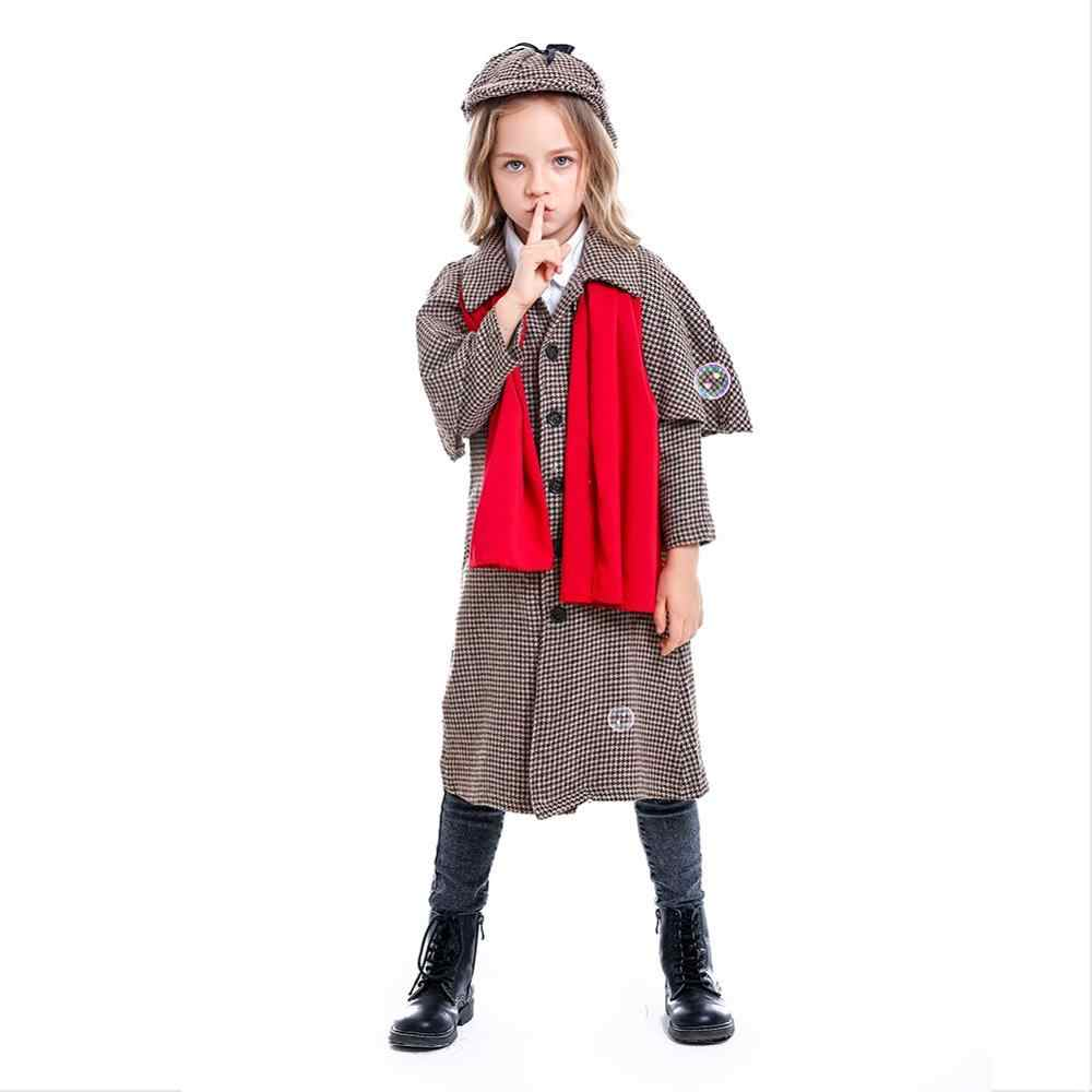 Adult Kids Holmes Detective Costume Coat Halloween Cosplay Victorian Button Down Jacket Outfit Uniform