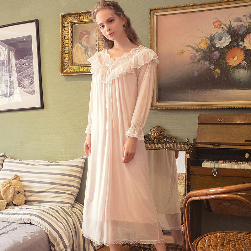 Spring Autumn Nightdress Female Long-Sleeved Sexy Modal V-Neck Hollow Retro Palace Sweet Wind Long Skirt Home Service Sleepwear