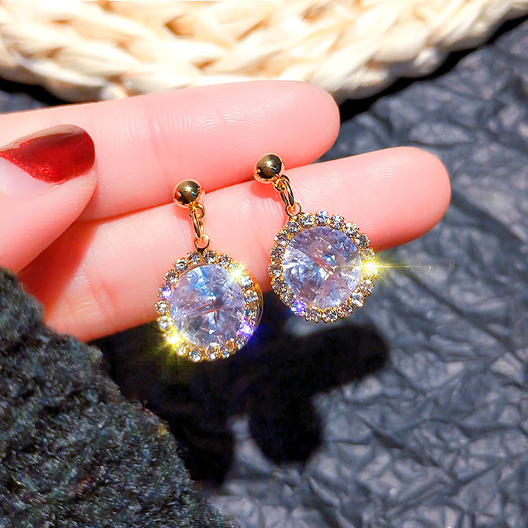anti allergy earrings female Korean temperament drop shaped zircon super flash earrings simple earrings female wholesale in Drop Earrings from Jewelry Accessories