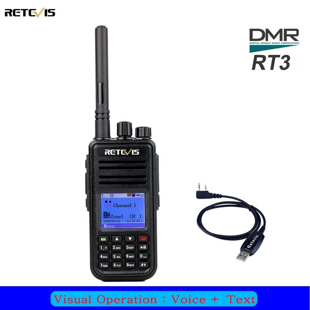 Retevis RT3 DMR Walkie Talkie Radio Digital (GPS) UHF 400-480MHz 5W Ham Radio Station 2 Antenna With Program Cable LCD Display