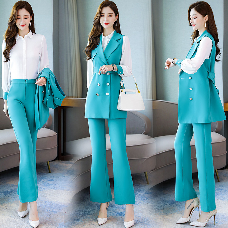 2019 Early Autumn Retro Fashion Business Casual Ol Small Suit Waistcoat Shirt Trousers Three-piece Set-Modern And Trendy/women
