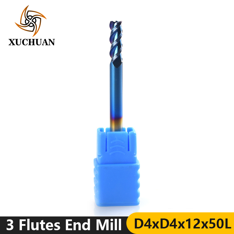 1pc 4mm Diameter Nano Blue Coated CNC Machine Router Bit 3 Flutes Spiral CNC End Mills Aluminum Cutting Milling Cutter