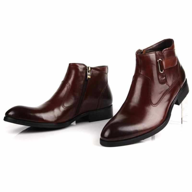 2020 homens sapatos de couro genuíno botas moda fivela dedo do pé redondo botas de trabalho de luxo marca primavera outono vestido com zíper sapatos