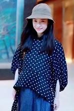 In The Early Autumn of 2019 New Star Has Same Blue Wave Lantern Sleeve Irregular Shirt Chiffon Fashion Women Shirts