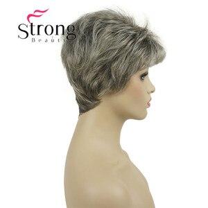 Image 4 - قوية الجمال قصيرة شعر مستعار الاصطناعية شقراء مع الفضة الباروكات الكاملة لسيدة النساء