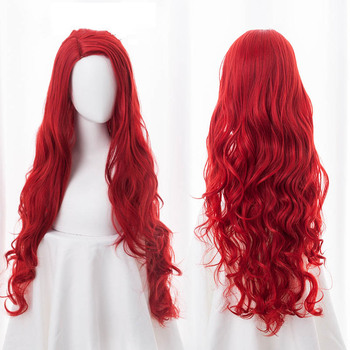 цена на Aquaman Mera Cosplay Wig American Anime Movie Red Long Curly Wavy Heat Resistant Synthetic Hairpiece Women Costume Party Wigs