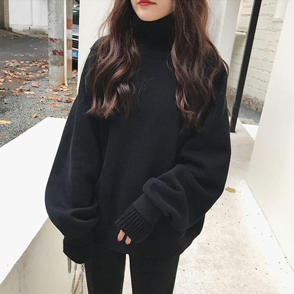 Женская теплая толстовка с длинным рукавом, однотонный пуловер с высоким воротником, уличная одежда, зима 2020 Толстовки и свитшоты      АлиЭкспресс