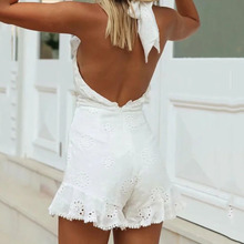 Foridol sexy backless cotton lace up rompers women sexy hollow out white playsui