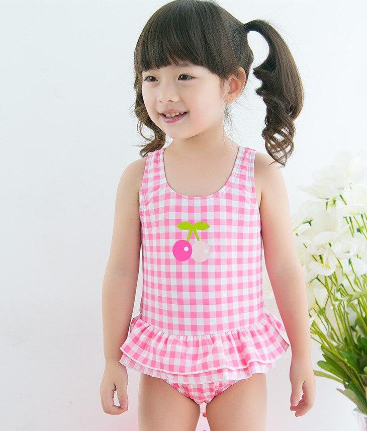 KID'S Swimwear Infants Cute Baby Cherry Plaid Little Princess GIRL'S Skirt One-piece Swimwear Hot Springs Swimming