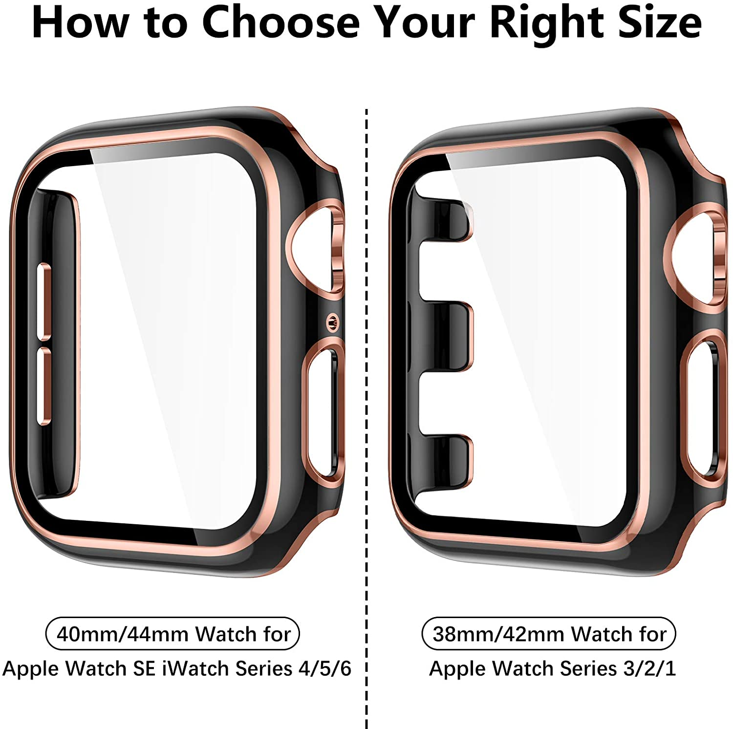 Compatible with Apple Watch Case 38/40/42/44mm, Full Coverage Black Bumper Protective Case Screen Protector for iWatch Series