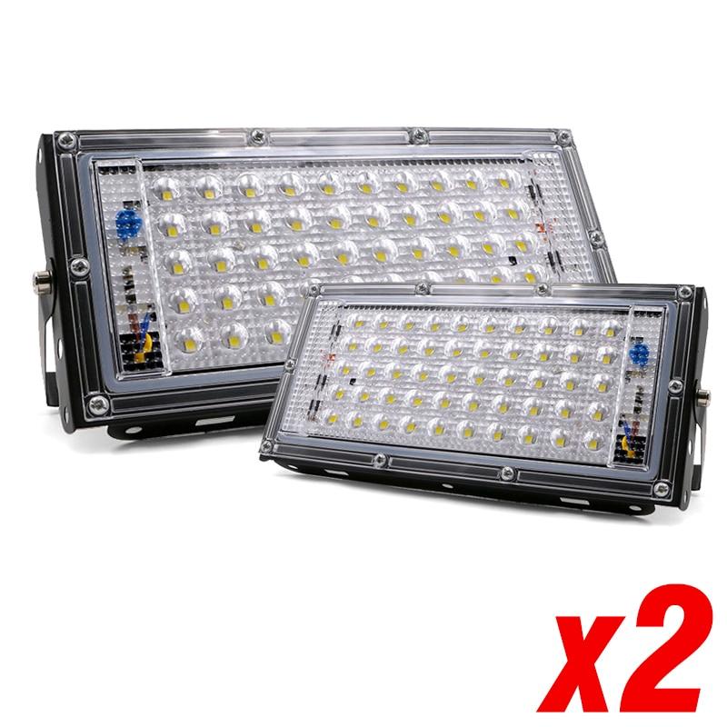 2 uds LED Luz de inundación 50W 220V 240V Reflector streetIP65 impermeable al aire libre Reflector iluminación jardín cuadrado Spotlightled