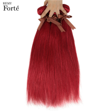 Remy Forte Straight Hair Bundles Red Brazilian Weave 100% Human 1/3/4
