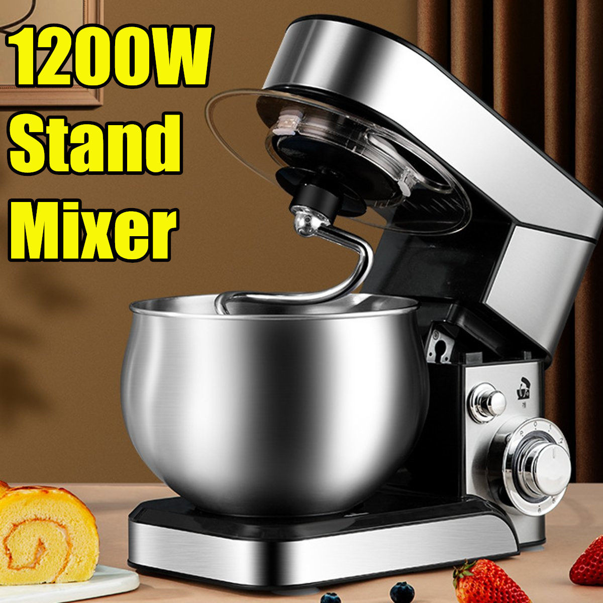 1200W 5L Kitchen Food Stand Mixer 6-speed Stainless Steel Bowl Home Cream Egg Whisk Blender Cake Dough Bread Mixer Maker Machine