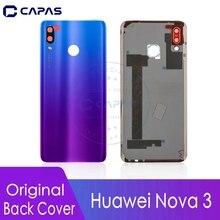 מקורי עבור Huawei נובה 3 חזרה כיסוי זכוכית + מצלמה זכוכית עדשה עבור Huawei נובה 3 חזרה סוללה כיסוי החלפה חלקי חילוף
