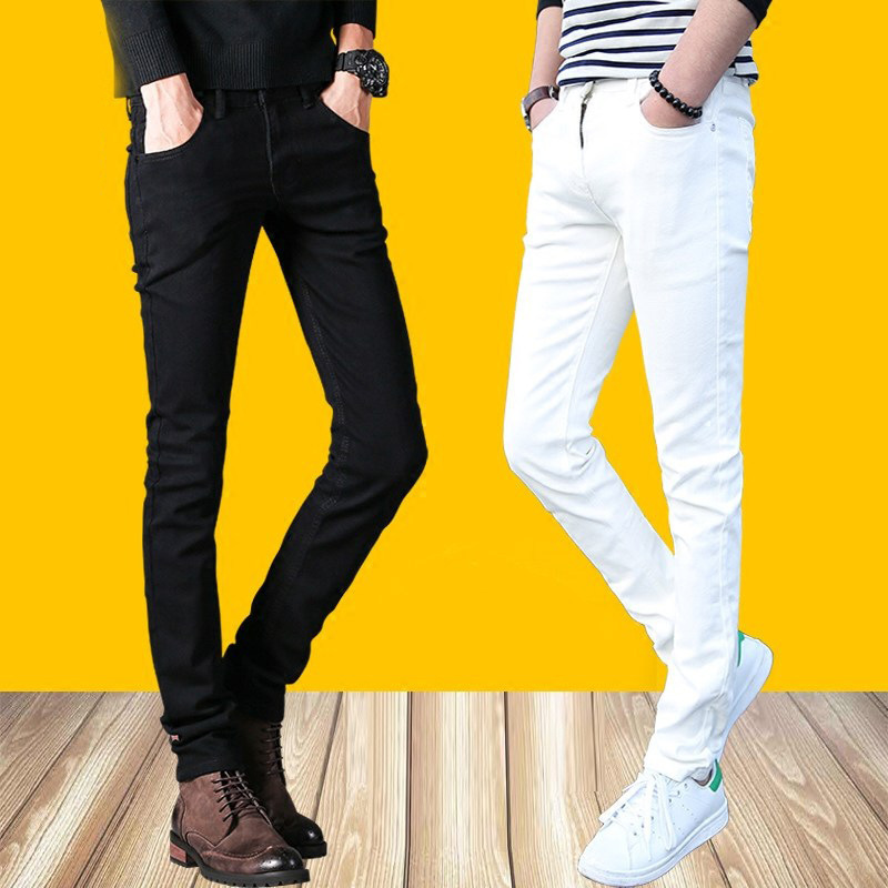 MEN'S Jeans Elasticity Youth Autumn Thin Slim Fit Skinny Pants Korean-style Trend White Casual Long Pants Men's