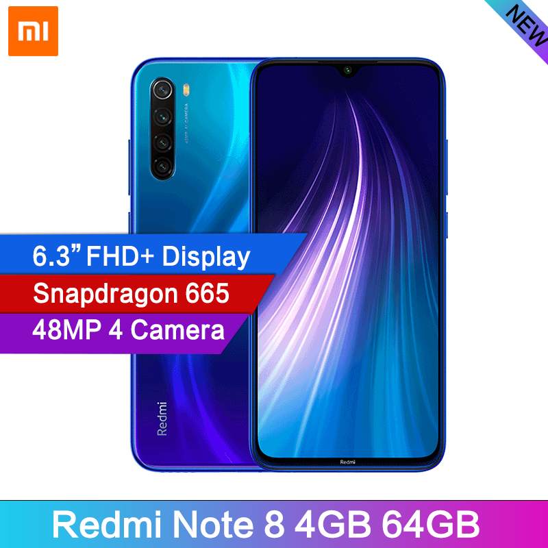 "Global Version Xiaomi Redmi Note 8 48MP 4 Cameras 4GB RAM 64GB Smartphone Snapdragon 665 Octa Core 6.3"" FHD Screen Mobile phone(China)"