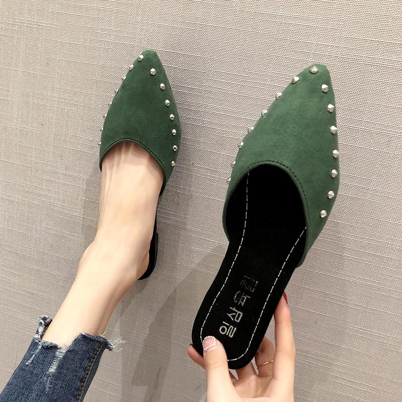 EOEODOIT Summer Flat Heel Slippers Pointed Toe Fashion Rivet Slip Into Slides Shallow V Mouth 2018 Newest
