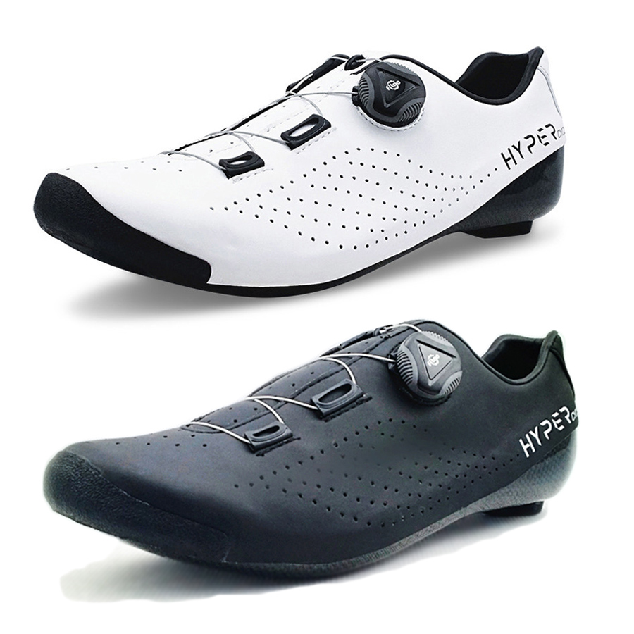 Original HYPER Cycling Shoes Heat Moldable 3K Carbon Fiber Road Bike Sneakers 1 Shoelace Self-locking Thermoplastic Bicycle C08