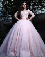 Half Sleeves Lace Appliques Pink Quinceanera Dresses Lace Appliques Prom Party Gowns Sweet 16 Age Dress