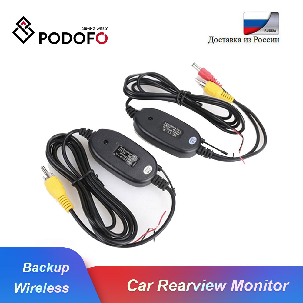 Podofo 2.4 Ghz Wireless Rear View Camera RCA Video Transmitter & Receiver Kit for Car Rearview Monitor Reverse Backup Camera Cam image