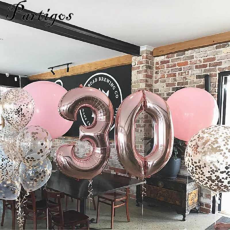 1 قطعة 40 بوصة الوردي الذهب الفضة الألومنيوم احباط عدد بالونات 0-9 عيد ميلاد الزفاف حفلة خطوبة ديكور Globos كرات لمسبح الأطفال لوازم