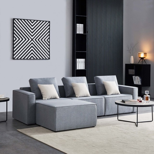 L-Shape Sofa Linen Sectional With Wide Armrest-Grey Modern Living Room Decorative Fast Shipping 1