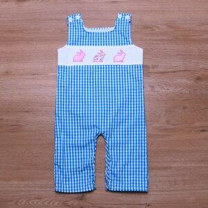 Image 2 - יילוד תינוק בגדי ילד בני בנות סרבל פסחא לפעוטות בני תלבושות ילדה אופנה ילדים Romper ילדי סתיו בגדים כחול