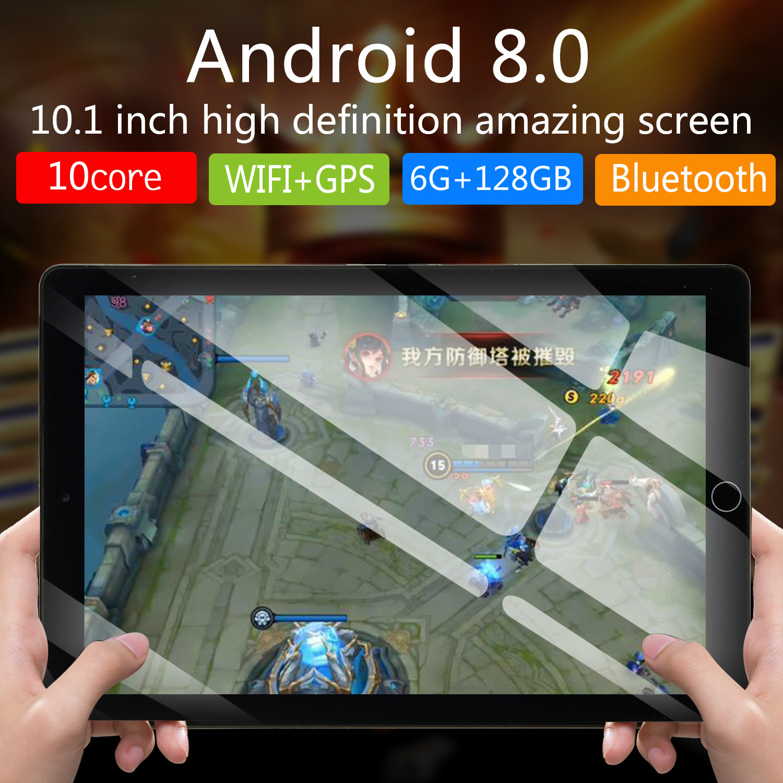 NEW 10.1 Inch Tablet Pc 10 Core Original Android 8.0 6GB RAM 128GB ROM IPS Dual SIM 4G Phone Call Tab Phone Pc Tablets 2020