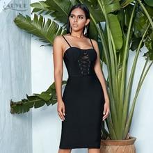 ADYCE 2020 חדש נשים מסלול Bodycon תחבושת שמלה סקסי ספגטי רצועת שרוולים מועדון שמלת Midi סלבריטאים המפלגה שמלת Vestidos