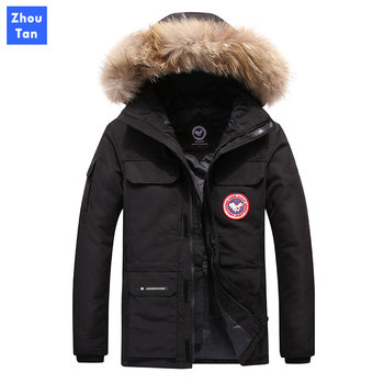 New brand winter jacket men 90% white duck Down Coats thick keep warm men down jacket fur collar hooded down jackets coat male