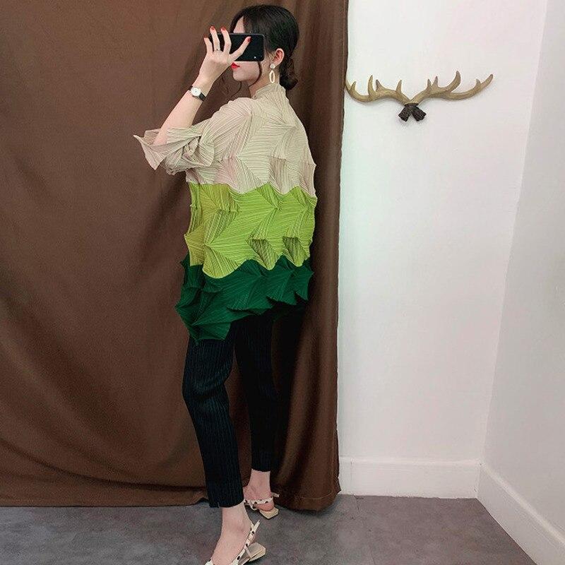 LANMREM vert contraste col montant manches courtes plissée Plus femme Long T-Shirt décontracté Simple mode 2019 automne nouveau TV723 - 6