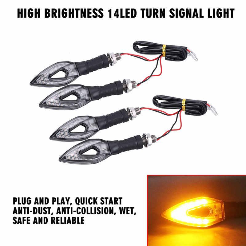 Автомобильные аксессуары для мотоциклов 12 в светодиодный струящийся стоп-сигнал для поворота Индикаторы, мерцатели Гибкая лампа Янтарная HLXG 4 шт