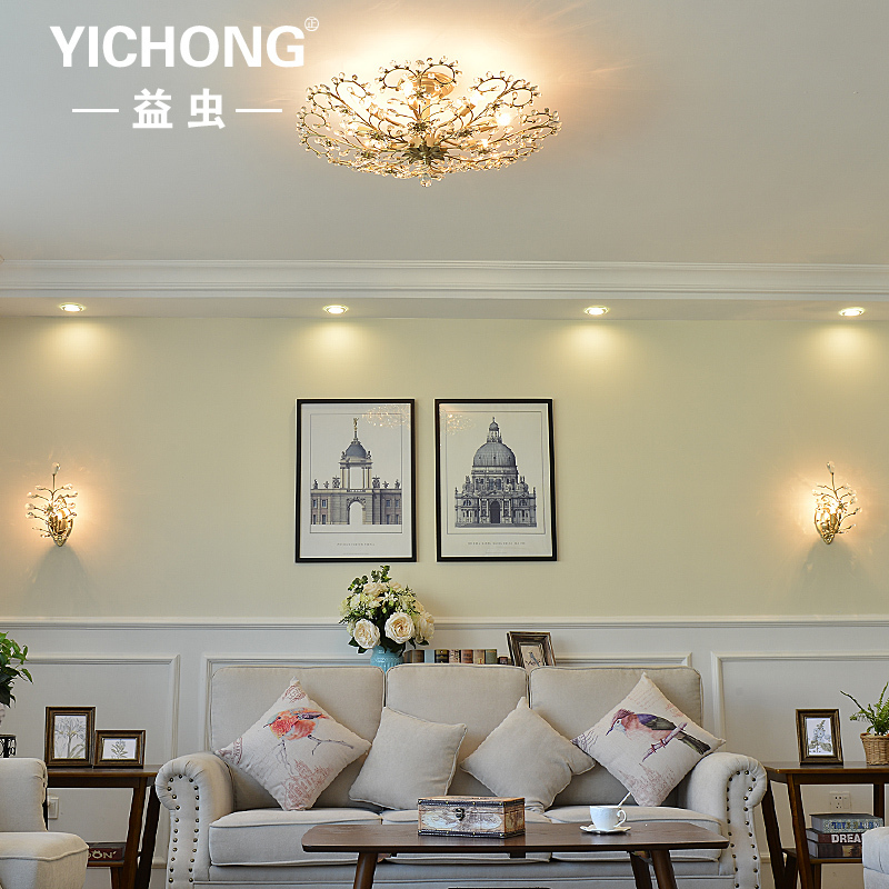 American country crystal ceiling light Modern Iron crystal led ceiling lamps for bedroom/study room/coffee bar