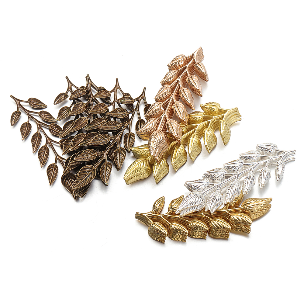 50pcs Silver Plated Leaf Charms Pendant DIY Craft Jewelry Making Accessories