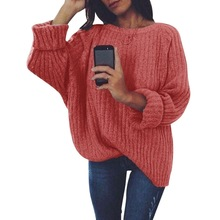 PUIMENTIUA Women Solid O Neck Knitted Sweater 2019 Autumn Winter Fashion Female Pullover Sweaters Lady Loose Knitwear Plus Size