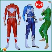 Hot 3D Print Anime costume Kyoryu Sentai Zyuranger Ranger Cosplay Costume Red / Blue / Green Rangers Bodysuit Zentai Suit(China)