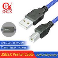Câble d'imprimante USB avec répéteur actif USB type A mâle à B cordon d'imprimante mâle 5m 10M 15M 20M câble amplificateur IC imprimante USB 2.0