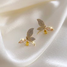 Fashion Women Earrings 2020 Exquisite Butterfly Crystal Rhinestone Stud Earrings For Women Jewelry Elegant Statement Girl Gift elegant crystal rhinestones stud earrings for women accessories jewelry fashion women earrings statement girl gift
