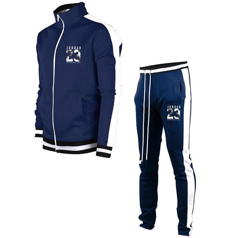 Merk Kleding Mannen Casual Sweatshirts Rits Katoen Mannen Trainingspak Hoodies Tweedelige + Broek Sport Shirts Herfst Winter Set