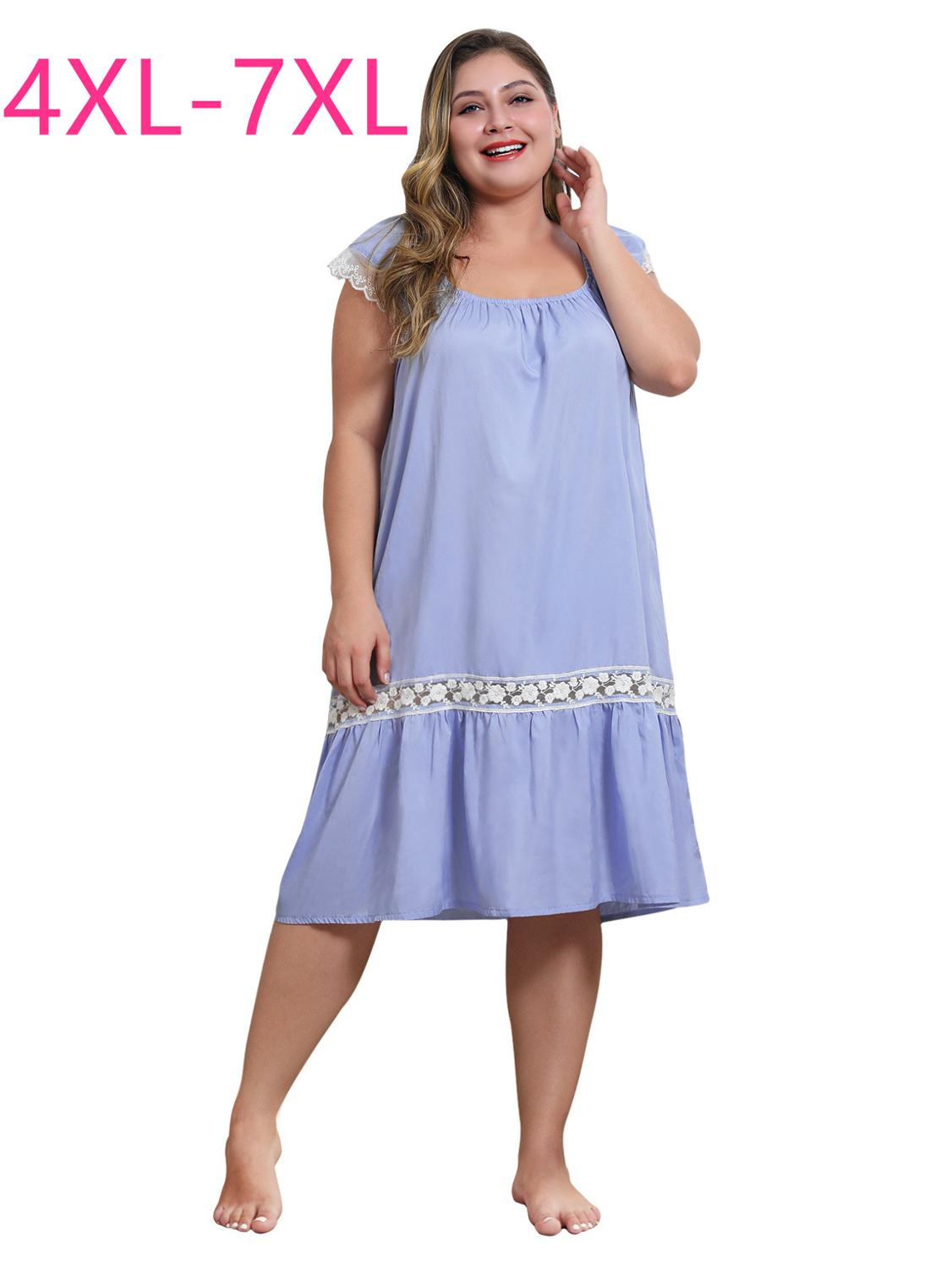 New 2020 summer <font><b>plus</b></font> <font><b>size</b></font> long dress for <font><b>women</b></font> loose casual cute sleeveless blue ruffle straight dress with lace 4XL 5XL 6XL <font><b>7XL</b></font> image