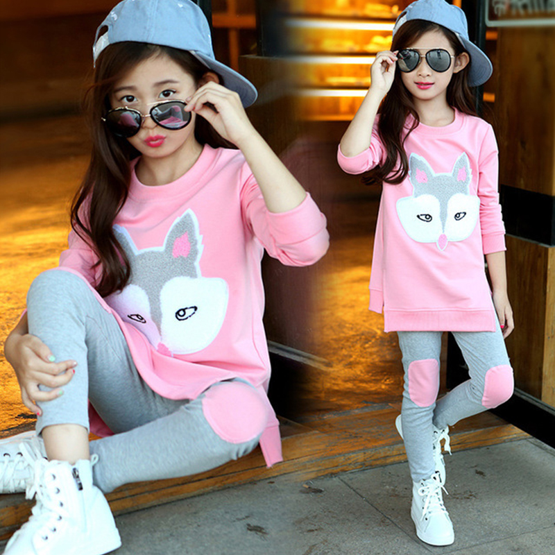 Children Clothing Autumn Cartoon Girls Sets Long Sleeve Tracksuit For 3- 13 Years old Girls Clothes Sport Suit Kids Clothes Sets 1